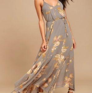 Feeling Freesia Grey Maxi dress Lulu's